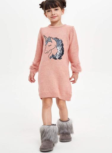 DeFacto Unicorn Baskılı Uzun Kollu Elbise Bordo